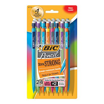 BIC Xtra Strong Mechanical Pencils, 0.9 mm, Assorted Barrel Colors, Pack Of 24 By Illuminations by