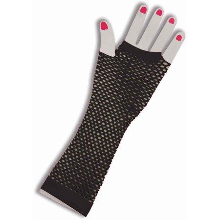 Black Fishnet Fingerless Long Gloves Halloween Costume Accessory