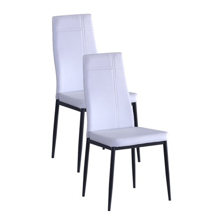 White metal frame faux leather kitchen dining side for Dining chairs metal frame