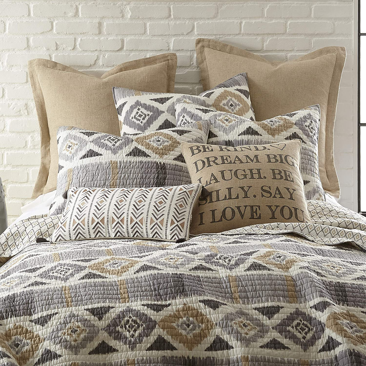 Levtex Home Santa Fe Quilt Ikat Pattern In Soft Grey Cream And Tan Twin Quilt Size 68 X 86in Reversible Pattern Cotton Shams Sold Separately Walmart Com Walmart Com