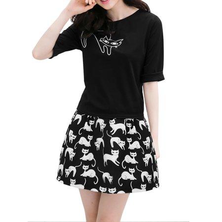 - Women's Cat Prints Pullover Top w Skirt Sets Black (Size S / 4)