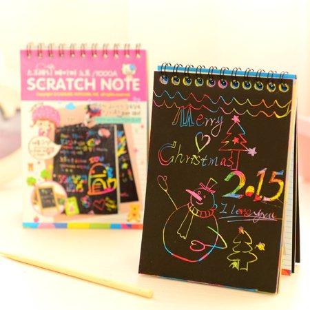 10-Sheet Graffiti Scratch Note Black Cardboard Notebook Creative DIY Scraping Drawing Paper Notes Color Random Gifts Color:Multicolor random Size:10 (Diy Notebook)