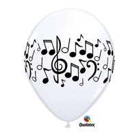 "Burton & Burton 11"" Music Notes White Balloons, Pack Of 50"