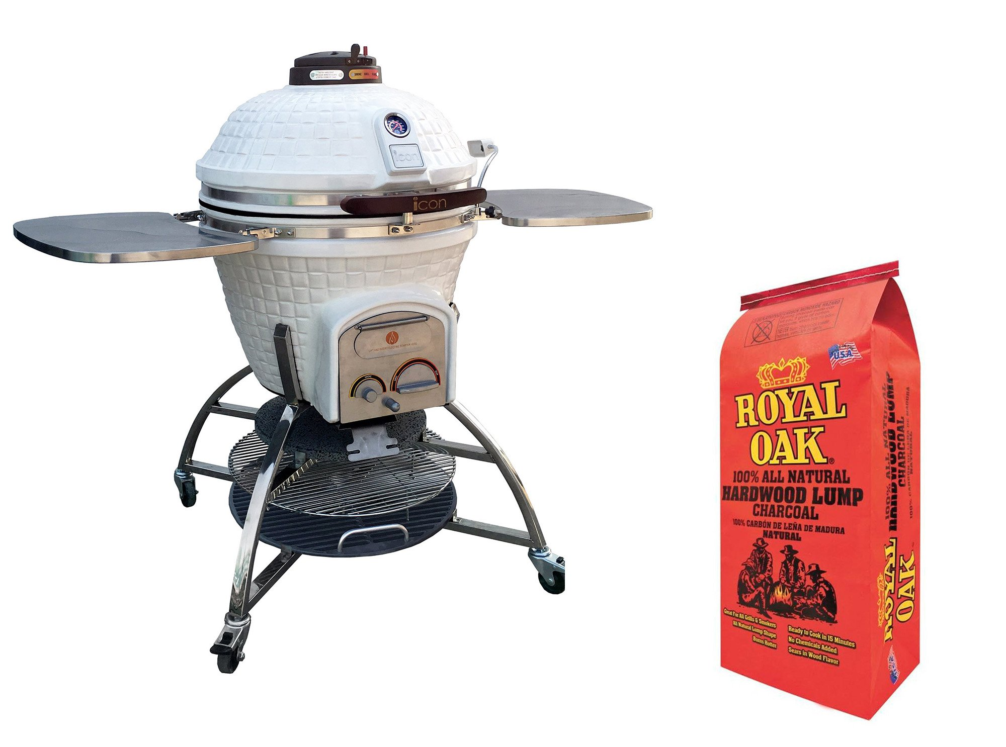 Icon Grills 700 Series White Charcoal Grill with Storage & Lump Charcoal Bag by Icon Grills