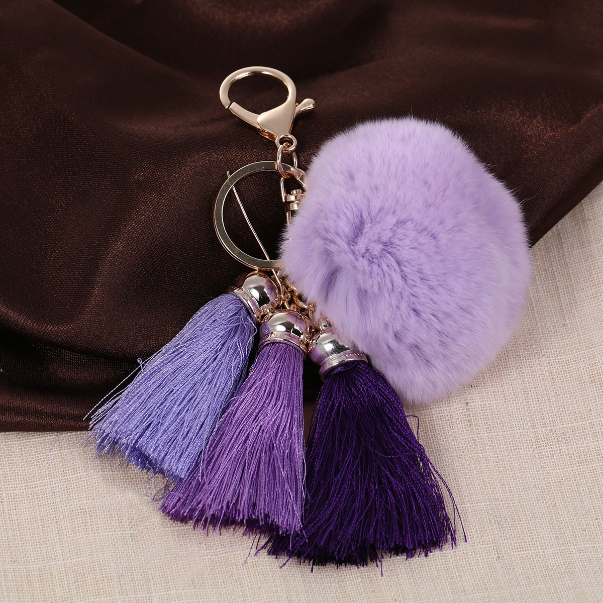 Sexy Sparkles New Fashion Key Chains Key Rings Lobster Clasp Gold Plated Pompom Ball Pendant With Rayon Tassel