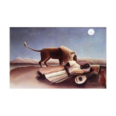 Henri Rousseau Artwork - The Sleeping Gypsy, 1897 Print Wall Art By Henri Rousseau