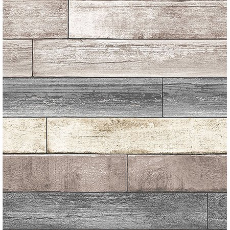 Reclaimed wood plank natural peel stick wallpaper for Paintable peel n stick wallpaper