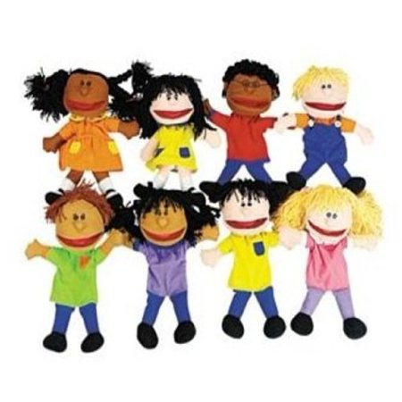 Plush Happy Kids Hand Puppets Multi-Ethnic Collection Novelty (Set of 8), 8 hand puppets per package By Fun Express ()