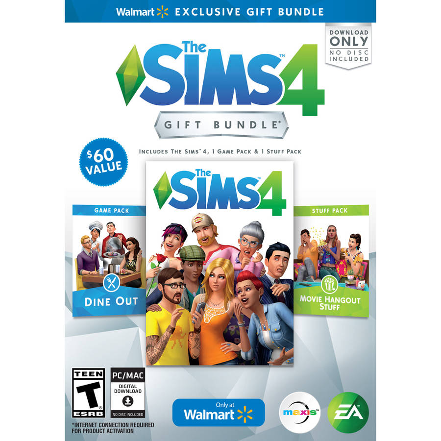 The Sims 4 Walmart Gift Bundle with Dine Out Game Pack and Movie Hangout Stuff Pack (PC)