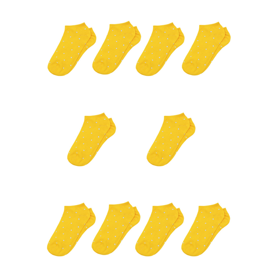 Buy 5 Get 5 Free | Lady Dots Pattern Stretchy Ankle Length Short Socks Yellow