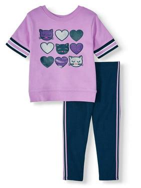 Garanimals Three Quarter Sleeve Graphic Top & Side Tape Leggings, 2pc Outfit Set (Toddler Girls)