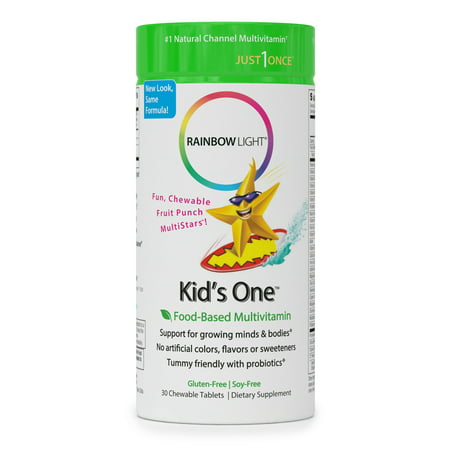 Rainbow Light Kids One, Food-Based Multivitamin, Chewable Probiotic, Vitamin, and Mineral Supplement; Soy and Gluten-Free; Supports Brain, Bone, Heart, Eye and Immune Health in Kids - 30 Tablets