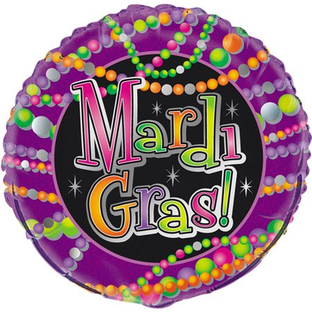 18   Foil Helium Mardi Gras Beads Balloon
