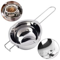 WALFRONT Stainless Steel Double Boiler Pots Universal Insert Melting Pot-Double Boiler Insert, Double Spouts, Heat Resistant Handle-Chocolate Butter Cheese Caramel Melting Pots,Baking Tools