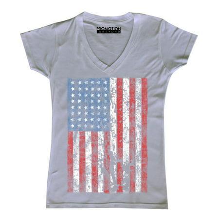 - P&B Distressed USA Flag 4th of July Independence Day Women's V-neck, White, M