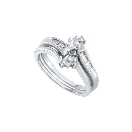 10kt White Gold Womens Marquise Diamond Solitaire Bridal Wedding Engagement Ring Band Set 1/4 Cttw
