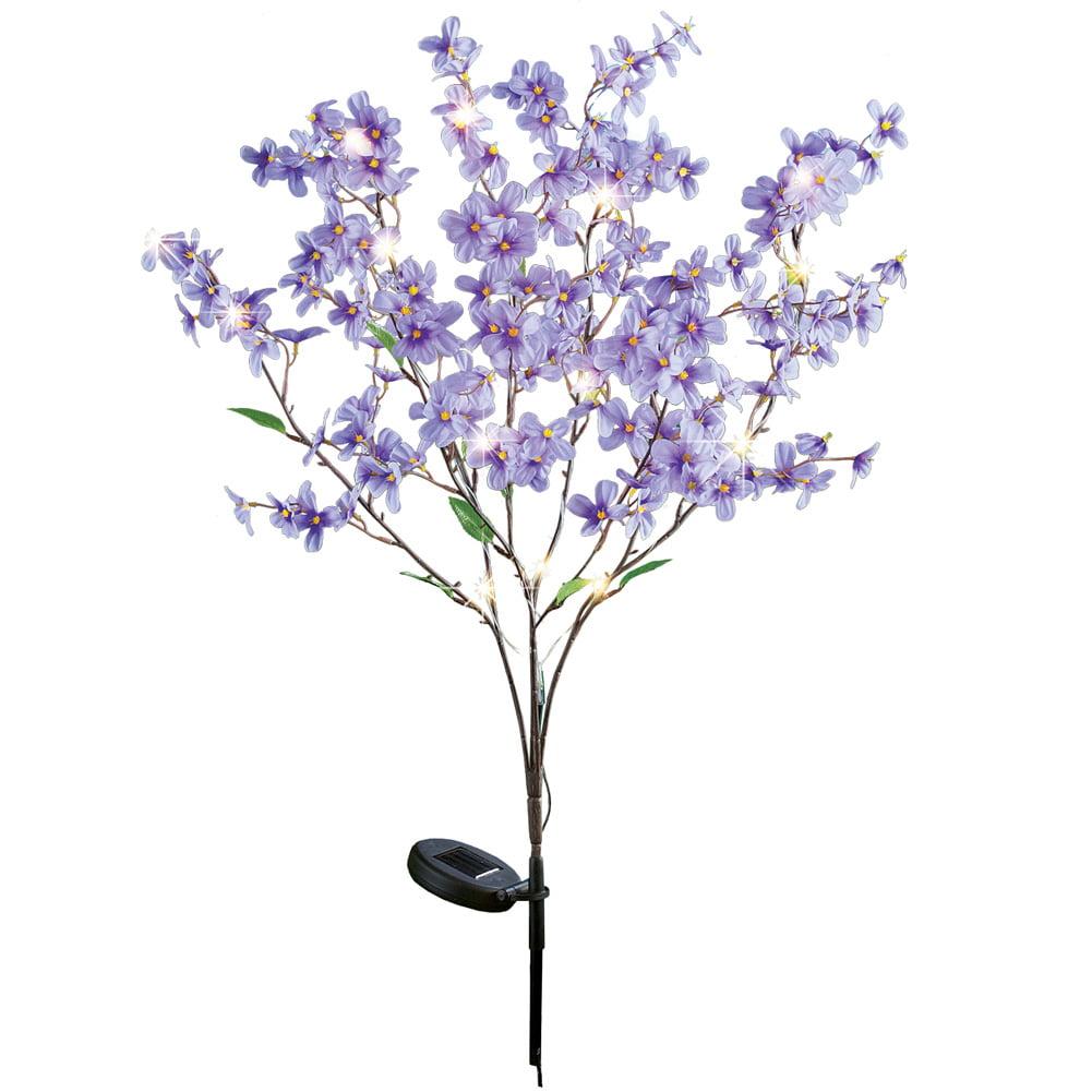 Forsythia Flower Twig Branch Tree LED Lighted Solar Garden Stake, Yellow