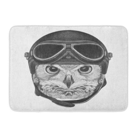 GODPOK Aviation Airman Portrait of Owl with Vintage Helmet Hand Drawn Animal Aviator Rug Doormat Bath Mat 23.6x15.7 inch