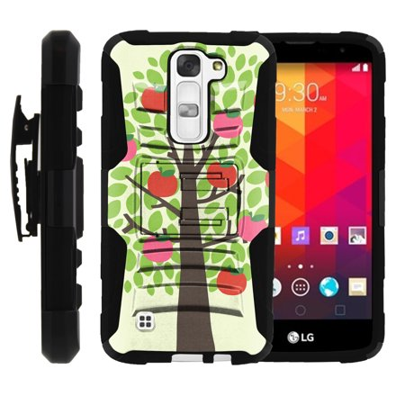 LG K7, LG Tribute 5 Miniturtle® Clip Armor Dual Layer Case Rugged Exterior with Built in Kickstand + Holster - Apple