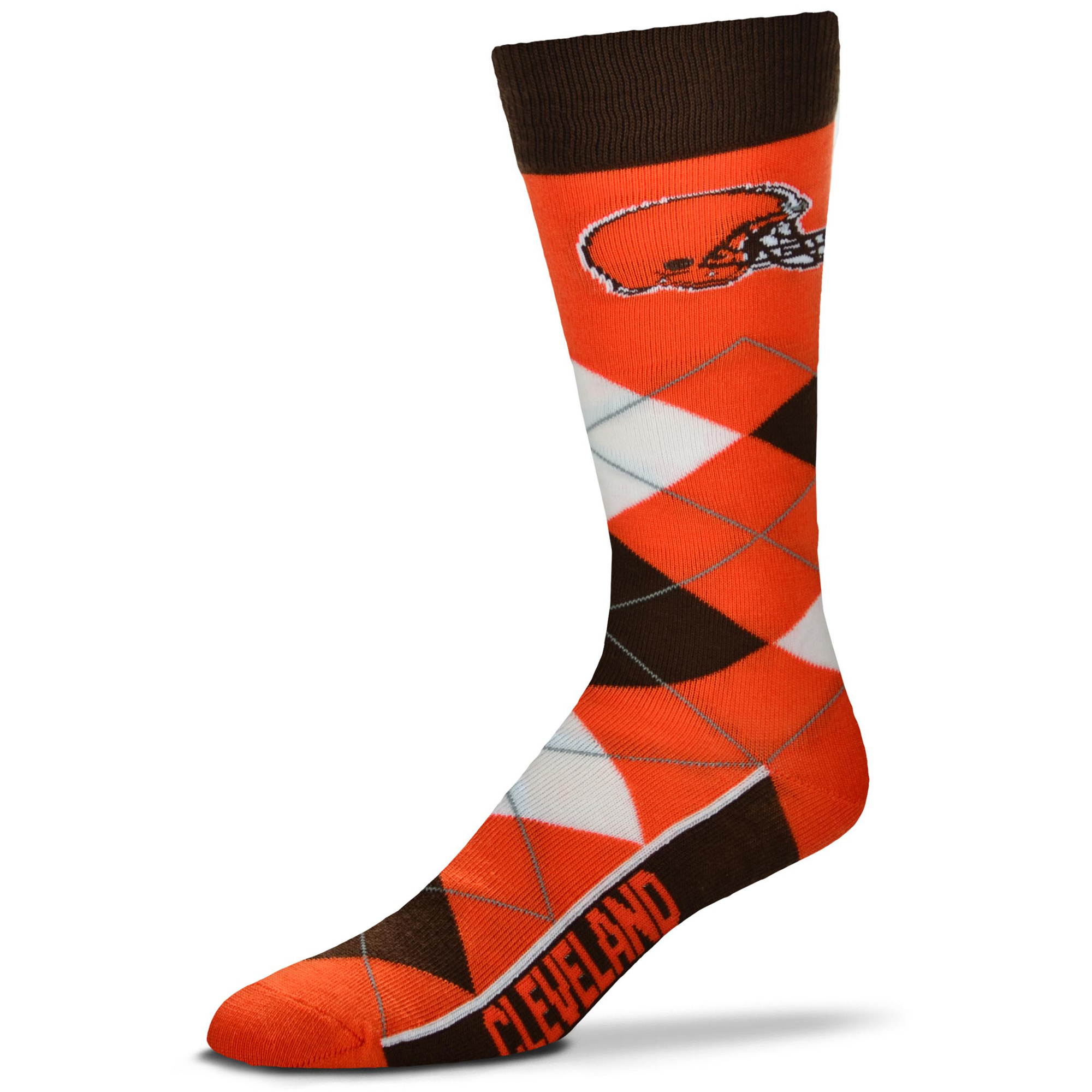 Cleveland Browns For Bare Feet Argyle Crew Socks - No Size