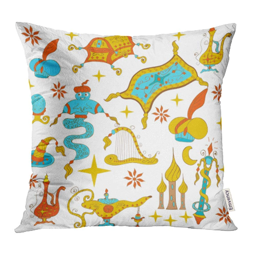 CMFUN Fairytale Aladdin Story Jinn Genie Gold Magic Lamp Like Flying Carpet Treasure Pillow Case Pillow Cover 16x16 inch Throw Pillow Covers