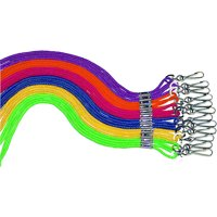 Sportime Lanyard with Nickel Plated Brass Clip, Braided Nylon, Multiple Colors, Pack of 12