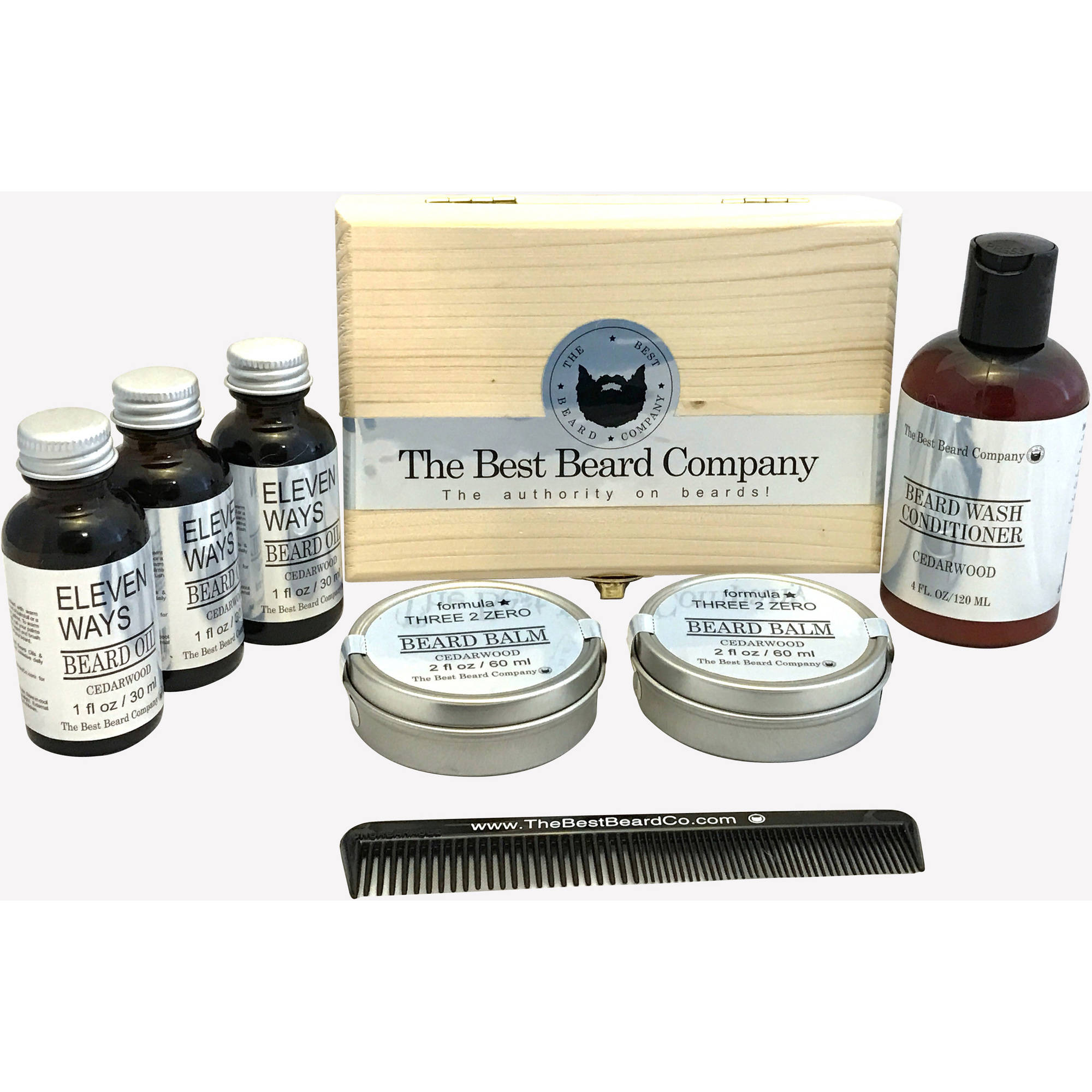 The Best Beard Company The Deluxe Cedarwood Conditioner Grooming Kit, 8 pc
