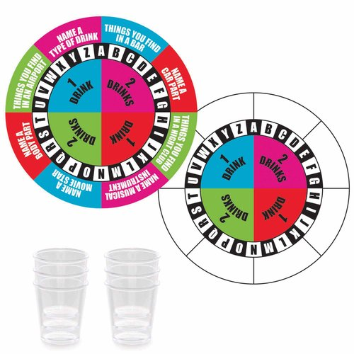 "7"" Spinner Game with Shot Glasses, 7pk"
