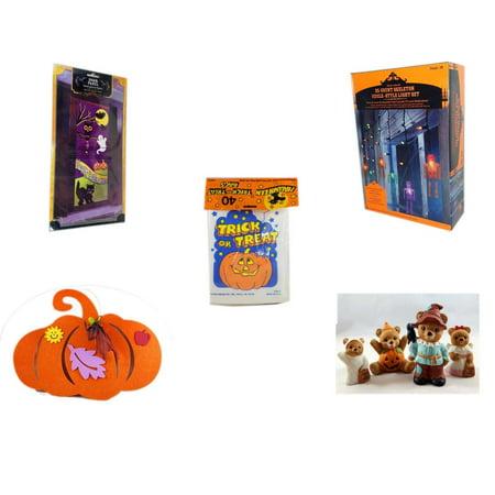 Halloween Fun Gift Bundle [5 Piece] - Happy  Door Panel - 35 Count Skeleton Icicle-Style Light Set -  Trick or Treat Bags 40/ct -  Felt Pumpkin Decoration - Homco  Set No. 1426