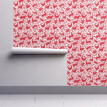 Peel-and-Stick Removable Wallpaper Red Festive Otomi Deer Deer Cats Spring Happy