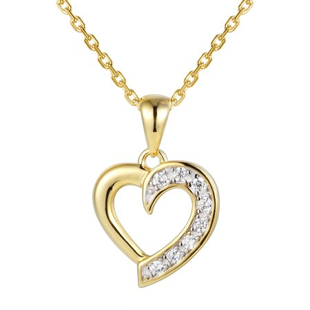 14k Gold Finish Heart Pendant Simulated Diamond 925 Silver Charm Necklace Womens ()