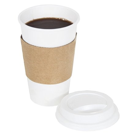 Disposable Paper Coffee Cups - Insulated - with Lids and Sleeves 12 oz - 100 count (Coffee Cup Sleeve Dispenser)