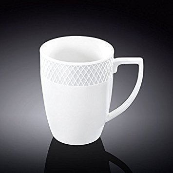 Wilmax WL-880108, 12 oz. Julia Collection White Porcelain Mug, Classic European Bone China Hot Drinks Coffee Tea Mug/Cup