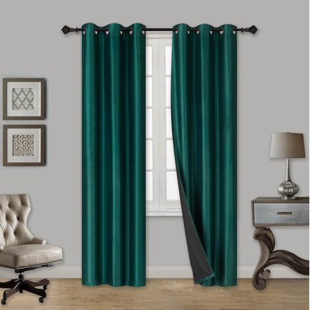 ELIO HUNTER GREEN 2-Piece 100% Thermal Blackout Grommet Window Curtain with Black Foam Backing Set, Solid Room Darkening Panels 35