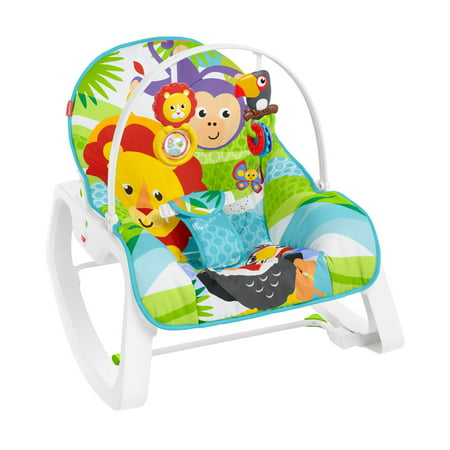 Fisher-Price Infant-To-Toddler Rocker, Green Jungle with Removable