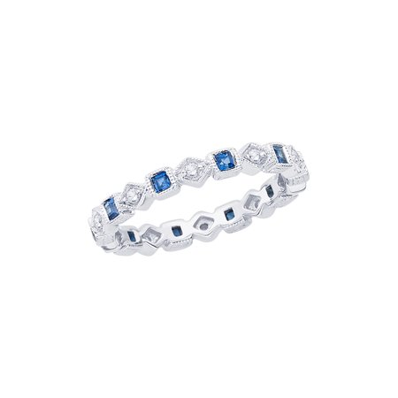 - Channel Set Round and Princess Cut Sapphire Diamond Eternity Wedding Band in 14K White Gold (1/2 cttw, G-H, I2-I3)