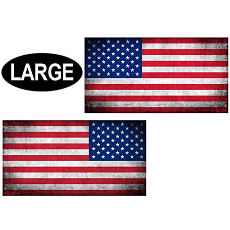 2 Pack: 6x11 inch Large Vintage American Flag Forward & Reverse Stickers (Mirror USA us) - Large Stickers
