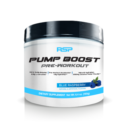 RSP Nutrition Pump Boost - Stimulant Free Pre Workout, Pump Enhancer, Nitric Oxide, Blue Raspberry, (Alpha Prime Elite Nitric Oxide Vascular Pump)
