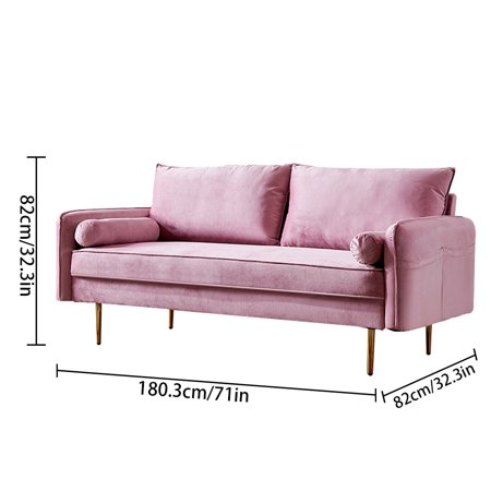 Modern Velvet Fabric Sofa Convertible Futon Couch Stable Loveseat with Tapered Legs Pink