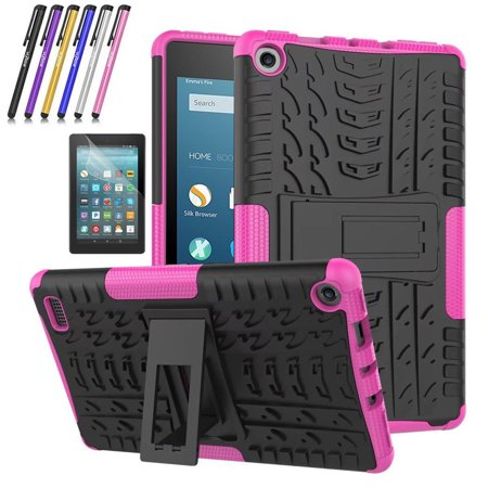 Fire 7 2017 Case, Mignova Hybrid Protection Cover [Anti Slip] [Built-In Kickstand] Skin Case For All-New Fire 7 Tablet (7th Generation 2017 Release) + Screen Protector Film and Stylus Pen (Pink) for $<!---->