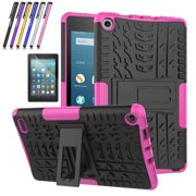 Fire 7 2017 Case, Mignova Hybrid Protection Cover [Anti Slip] [Built-In Kickstand] Skin Case For All-New Fire 7 Tablet (7th Generation 2017 Release) + Screen Protector Film and Stylus Pen (Pink)