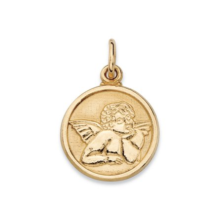 Yellow Cherub (Round Cherub Angel Embossed Charm Pendant in 14k Yellow Gold (3/4