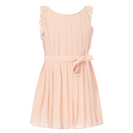 Richie House Girls Peach Belt Pleated Special Occasion Dress