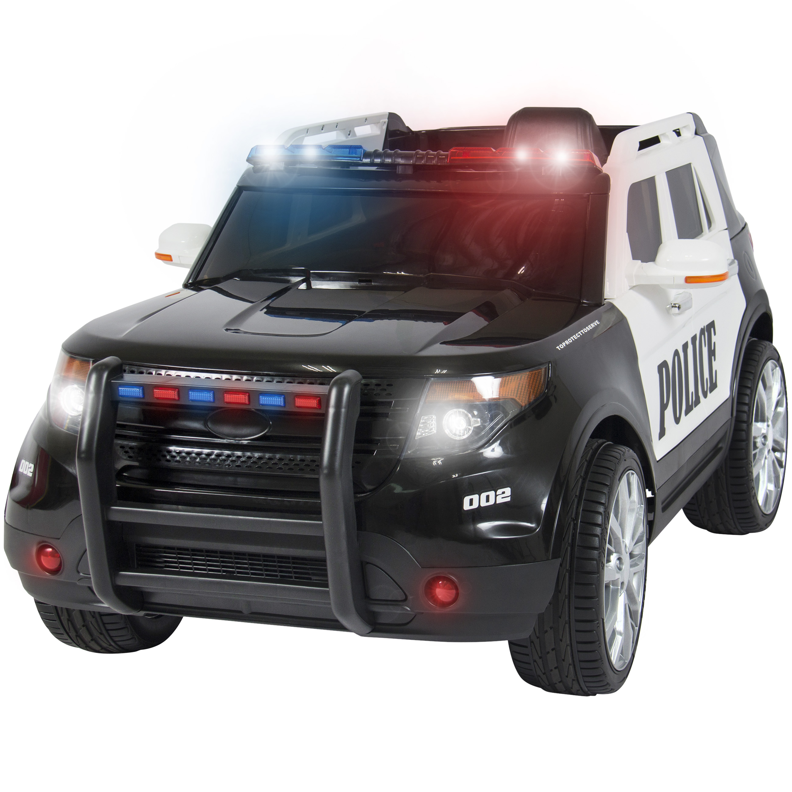 Best Choice Products 12V Kids Powered Ford Style Police RC Remote Ride-On SUV Car w/ Parent Control, 2 Speeds, LED Lights, AUX, Sirens - Black