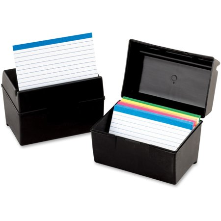 Oxford 01351 Plastic Index Card Flip Top File Box Holds 300 3 x 5 Cards, Matte Black