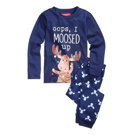 Family PJs Boys Moosed Up Graphic Pajama Set (Pjs For The Family)