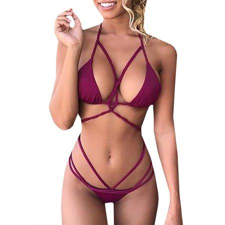 699cf357bdd Chellysun - Cross Strappy Bikini Set Women Sexy Bandage Swimsuit -  Walmart.com