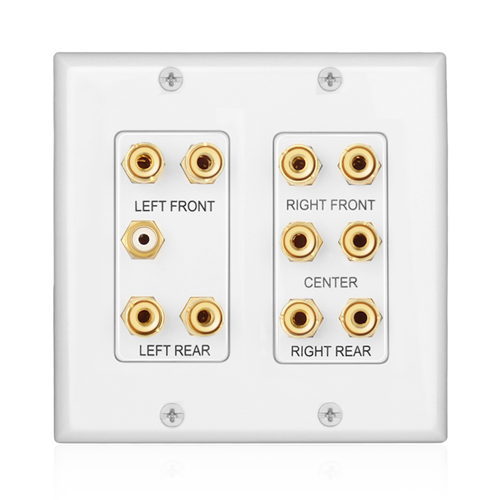 Home Theater Wall Plate - 2-Gang 5.1 Surround Sound Audio ...