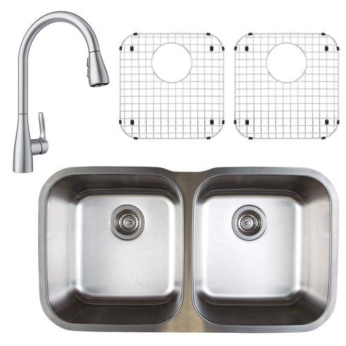 Blanco Stellar 33\'\' L x 19\'\' W Double Basin Undermount Kitchen Sink with  Faucet, Sink Grid and Sink Strainer - Walmart.com