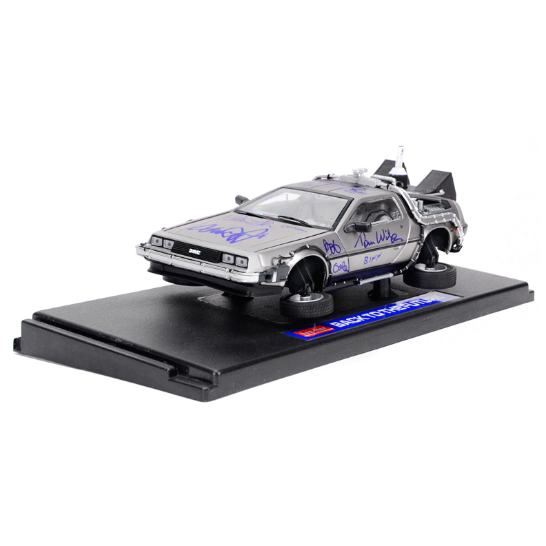 Michael J. Fox, Christopher Lloyd, Thomas Wilson, Lea Thompson, Claudia Wells and Bob Gale Autographed Back to the Future 1:18 Scale Die-Cast Flying DeLorean